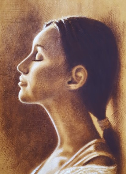 portrait -cyprus - paintings -sepia small paintins - art - island designs - chakra gallery